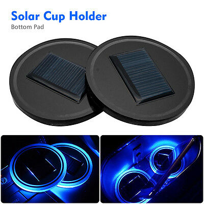 2X Solar Cup Holder Bottom Pad Blue LED Light Cover Trim Lamp For All Car Models
