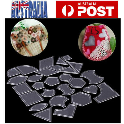 54pcs Quilt Patchwork Template Quilting Sewing Ruler Quilting Templates Clear AU