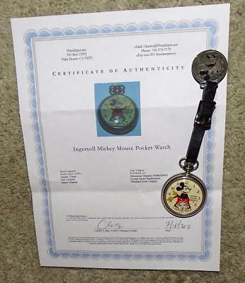 """Ex!disney1934""""mickey Mouse Pocket Watch"""" By Ingersoll+Fob/strap Set+Coa+Working!"""
