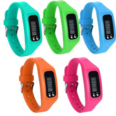 Run Step Watch Silicone Bracelet Pedometer Calorie Counter LCD Walking Distance