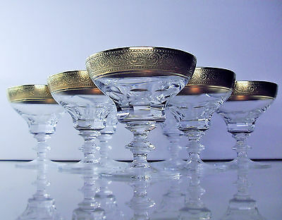 ANCIENNES LUXE 7 VERRES COUPES CRISTAL TAILE dorure l'agate BOHEME THERESENTHAL