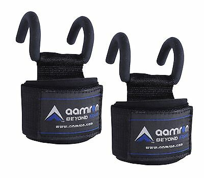 Aamron ® Pro Weight Lifting Training Gym Hook Grips Straps Gloves Wrist WLH-SPH