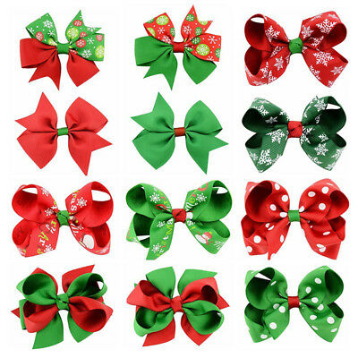 12Pc Xmas Christmas Bowknot Hairpin Hair Bow Clips Barrette For Kids Baby Girls