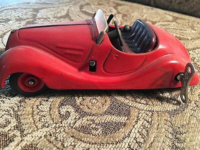 "Germany Schuco 4001 Red Examico Car With Key 5 1/2"" Long"