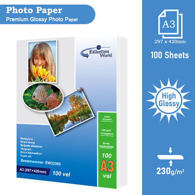 100 sheets High Glossy Inkjet Printer Photo Paper|A3 230 gsm