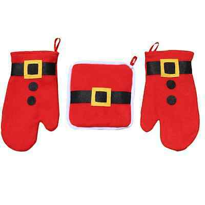 Oven Mitt Heat Resisstant Mat Pad Heating Gloves Christmas Kitchen Helper Home