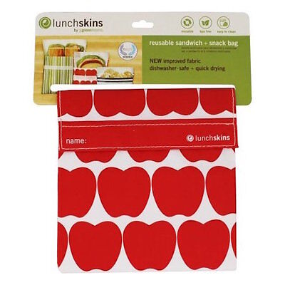 Lunchskins Reusable Sandwich Bags Velcro - Red Apples