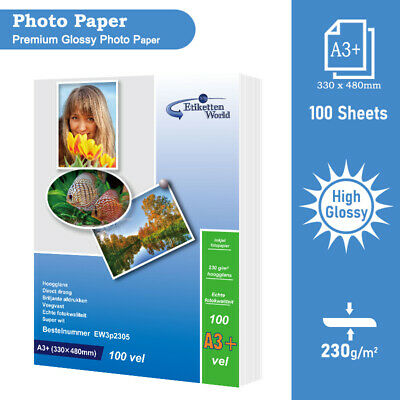 100 Sheets Premium High Glossy Photo Paper 230 gsm A3+ 330x480 mm by EW