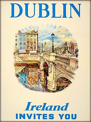Dublin Ireland Invites You United Kingdom Vintage Irish Travel Poster Print