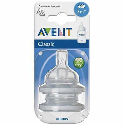 Philips AVENT Classic Medium Flow Teat Silicone Baby Bottle Feeding BPA Free 2PK