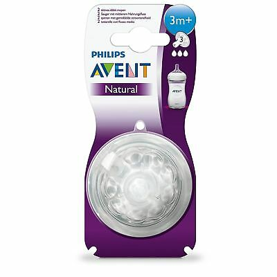 Philips AVENT Natural Medium Flow Teat Silicone Baby Bottle Feeding BPA Free 2PK