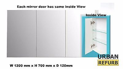 Award 1200 x 700 x 120 mm 3 Door Shaving Cabinet medicine MIRROR INSIDE OUTSIDE