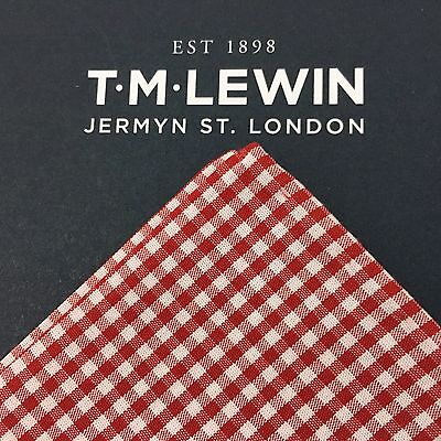 Mens T.m.lewin Red White Gingham Hand Rolled Cotton Pocket Square Handkerchief