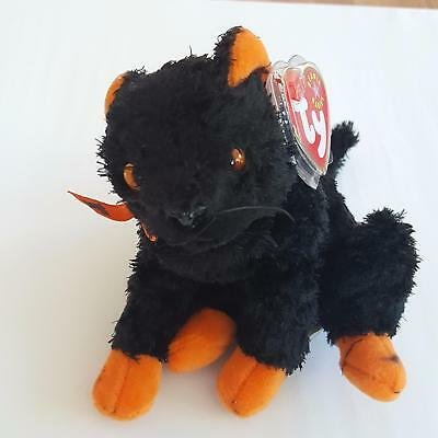 Ty Beanie Baby Fraidy the Halloween Black Cat Plush 1998 PE Pellets 4379 MWMT