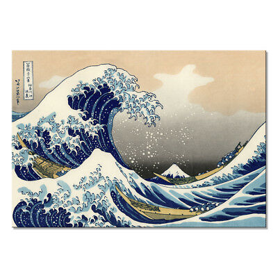 Canvas Print Painting Picture Anime Wall Art Home Decor Blue Sea Waves Framed