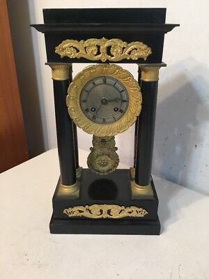 Antique Henri Marc French Empire Portico Mantle Clock
