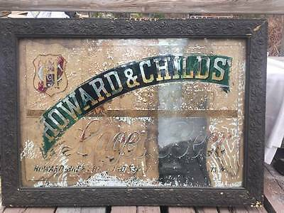 Antique pre-prohibition Howard & Child Brewing Beer Bar Sign vtg reverse painted
