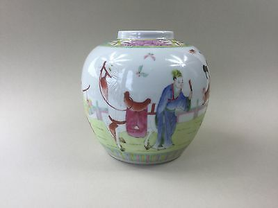 Republic Period Famille Rose Large Ginger Jar - Garden Scene and Horse