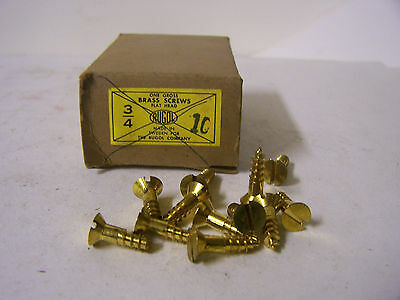 "#10 x 3/4"" Flat Head Solid Brass Wood Screws Slotted Made in Sweden Qty. 125"