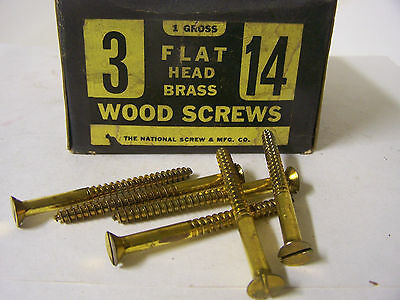 """#14 x 3"""" Flat Head Brass Wood Screws Solid Brass Slotted Made in USA Qty. 144"""