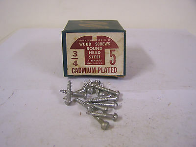 """#5  x 3/4"""" Round Head Cadmium Plated Wood Screws Slotted Made in USA - Qty.144"""