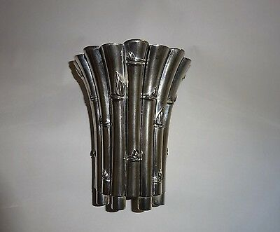 Antique Silverplated Bamboo/Asparagas Patterned Vase Flower Holder