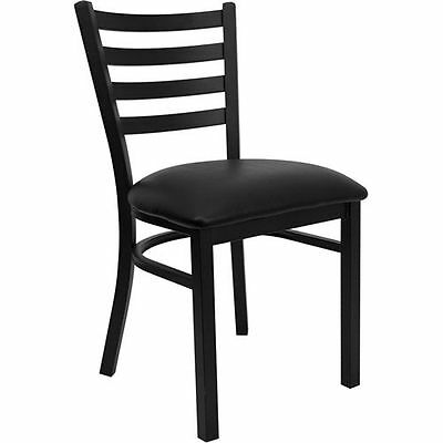 new  commercial restaurant Ladder  Back Black  metal chairs black cushion seat