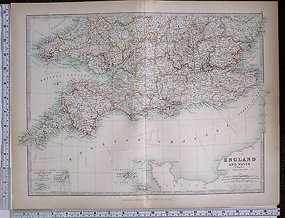 1903 Large Map England & Wales Southern Section Cornwall Devon Essex Kent Surrey