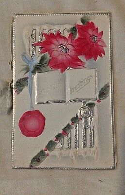 Vintage Embossed CHRISTMAS CARD poinsettia silver accents early 1900s
