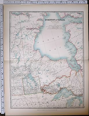 1903 Large Map Dominion Of Canada West Central Manitoba Saskatchewan Ontario