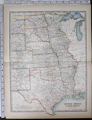 1903 Large Map United States Central Texas Kansas Colorado New Mexico