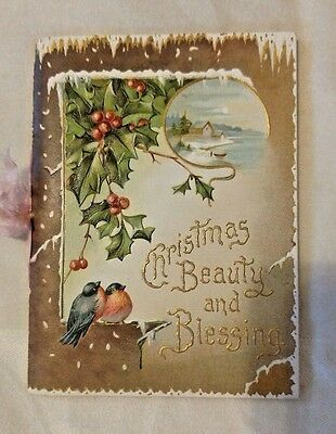 Vintage Embossed CHRISTMAS CARD booklet early 1900s holly & birds