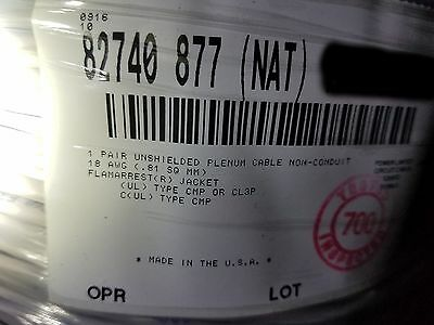 Belden Wire 82740 18/1P Teflon Ins. Twist Pair Audio/Control Cable CMP NAT/250ft