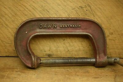 Vintage Dawn 4 Inch 100mm Unbreakable  Fine Thread G Clamp Old Tool