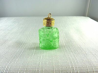 Collectable Vintage Miniature Green Glass Perfume Bottle