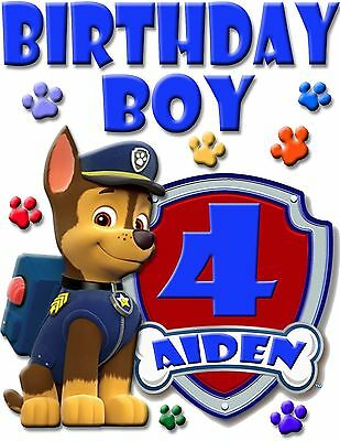 Personalized Chase Paw Patrol Birthday Shirt Add Name Age For Family