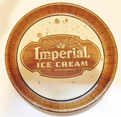 Vintage IMPERIAL ICE CREAM Round Metal Serving Tray Advertising Parkersburg WV