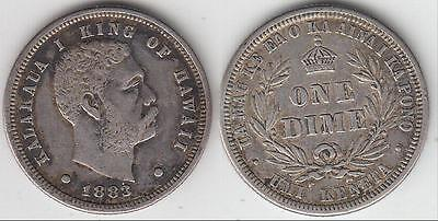 Just Reduced!! 1883 Hawaii Dime Xf