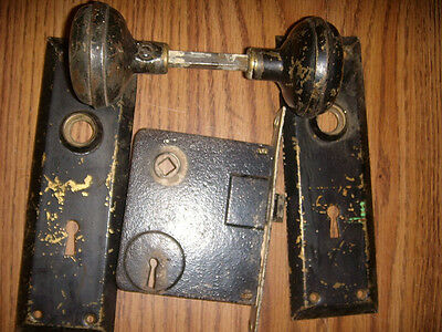 2 SETS Antique Skeleton Key Door Set Mortise Lock With Face plates & Door Knobs