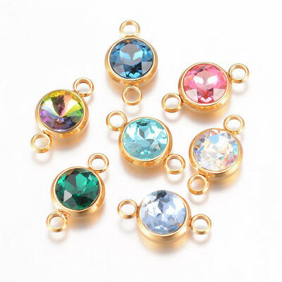 20 Colorful 304 Stainless Steel Glass Charm Connectors Faceted Round Gold 17.5mm