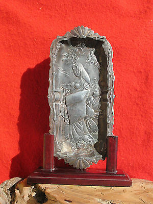 A1656 Antique Japanese Metal Art Letter Tray w Display Stand