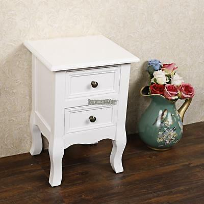 White Wooden Bedside Table Unit Cabinet 2 Drawers Nightstand Bedroom