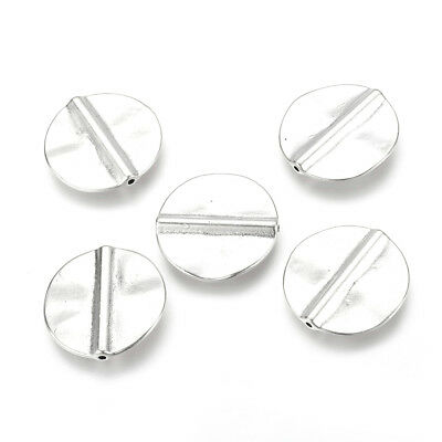 10pcs Tibetan Alloy Coin Metal Beads Smooth Silver Flat Disc Loose Spacer 26.5mm