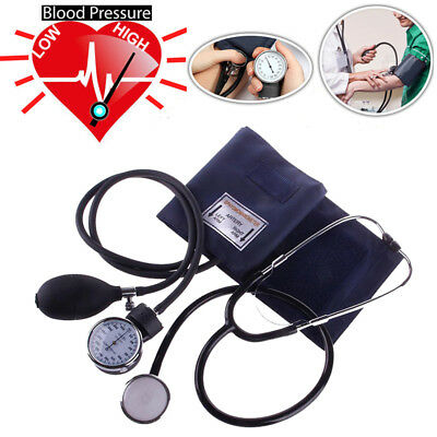 Blood Pressure Monitor Manual Stethoscope+Sphygmomanometer Equipment Set Kit UK
