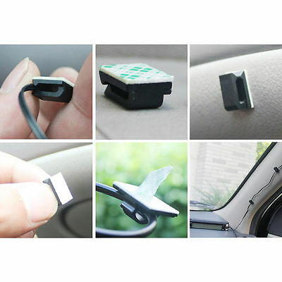 10 X Self Adhesive Black Plastic Wire Cable Holder Organizer Tidy Clip 1.9X1.5CM
