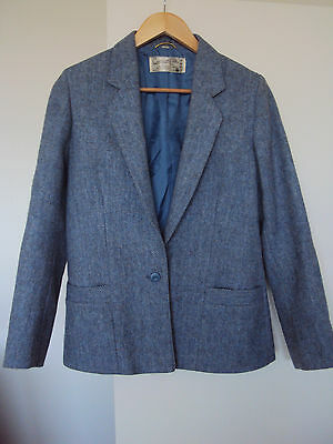60s -70s VINTAGE wool tweed? BLUE jacket /blazer made in ENGLAND size 8-10 S-M