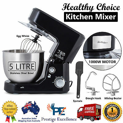 Stand Mixer 1000W Black Electric Food Processor Benchtop Dough Hook Whisk Beater