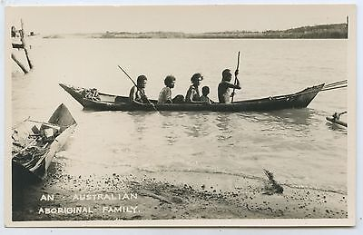 C1920's/30's Rp Scarce Postcard Aborigines Outrigger Canoe Northern Aust L60.