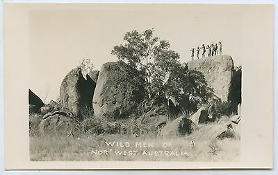 C1920's/30's Rp Scarce Postcard Semi-Tribal Aboriginal Men North West Aust. L63.