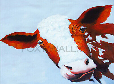 Framed Canvas print graffiti funny cow  abstract  Street Art  pop painting pepe
